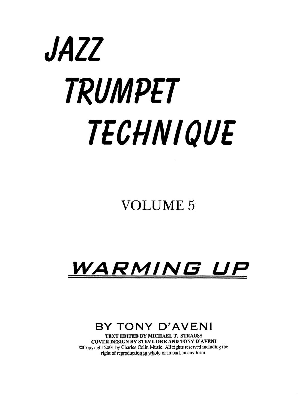 Jazz Trumpet Technique Vol 5 Warming Up